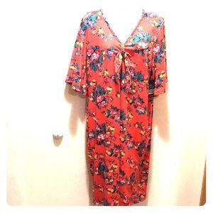 New Special one 2x floral print orange midi dress